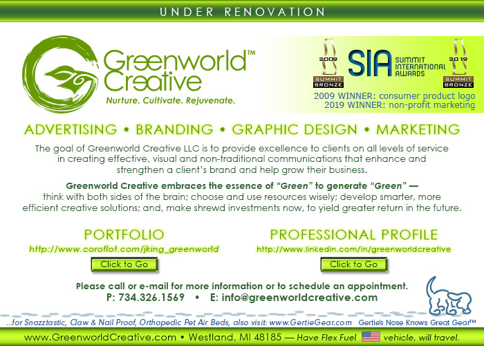 Under Renovation : Click Around. Contains Greenworld Creative logo with brief description of visual communications services. Includes contact info and links to portfolio, professional profile, Twitter feed and email. Phone: 734.326.1569  E-mail: info@greenworldcreative.com